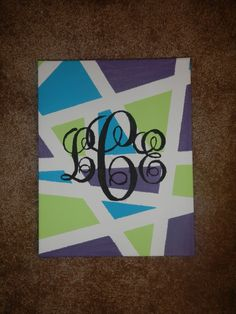 Awesome canvas Idea - just change the colors Cute Crafts, Crafts To Do, Arts And Crafts, Canvas Crafts, Diy Canvas, Canvas Ideas, Diy Wall Art, Diy Art, Sorority Crafts