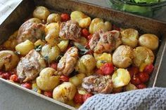 Roasted Chicken Thighs with New Potatoes and Cherry Tomatoes Roasted Chicken Thighs, Chicken Potatoes, Greek Chicken, Greek Recipes, International Recipes, Cherry Tomatoes, Chicken Recipes, Food And Drink, Cooking Recipes