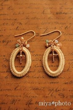 miyachika rev crochet earrings Diy Earrings Crochet, Tatting Earrings, Lace Earrings, Lace Jewelry, Textile Jewelry, Bead Crochet, Jewelery, Handmade Jewelry, Crochet Accessories
