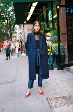 The Man repeller ~ jeans + blue coat + pink shoes