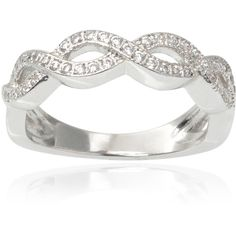 Journee Collection Brass Cubic Zirconia Twist Ring ($35) ❤ liked on Polyvore featuring jewelry, rings, silver, brass jewelry, long rings, pave setting ring, wide rings and cz band ring