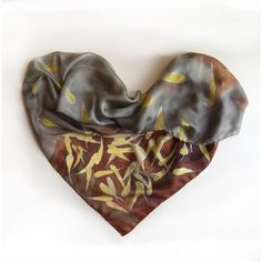 Silk Scarf -Falling Leaves/ Silk Shawl Scarf hand made/ Fall theme... ($70) ❤ liked on Polyvore featuring accessories, scarves, gray scarves, brown shawl, silk shawl, brown scarves and pure silk scarves