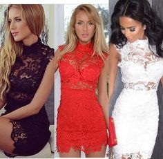 Our Crochet Lace Bodycon Dress available in Black, Red, & White.  Get the look at www.JayBela.com