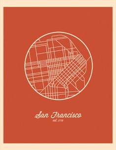 Map of San Francisco California • Modern City Line by rickjrstudios, $18.00