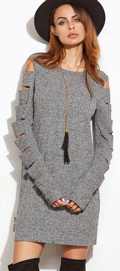 Grey Marled Ribbed Knit Ladder Cutout Sleeve Dress