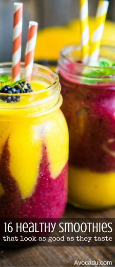 Healthy smoothies that look just as awesome as they taste! These healthy drink recipes are great for a healthy breakfast, healthy snack, or even on the go! Try adding one of these smoothies to your clean eating diet! http://avocadu.com/16-healthy-smoothies-that-look-just-as-good-as-they-taste/