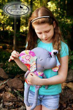 Elephant Rag Doll Plush - Elle - Michael Miller Fabric -