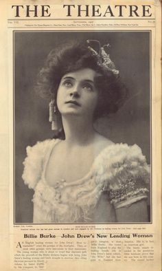 U.S. Stage actress Billie Burke, The Theatre, 1907