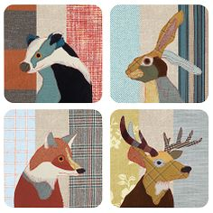 Beastie Stag, Hare Badger And Fox Coaster Set - placemats & coasters Applique Cushions, Wool Applique, Applique Quilts, Patchwork Pillow, Free Motion Embroidery, Machine Embroidery, Cool Coasters, Drink Coasters, Wool Quilts