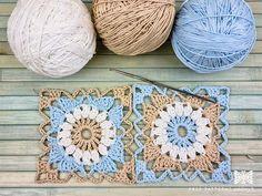 Crochet Pouf, Crochet Bebe, Crochet Granny, Free Crochet, Crochet Blocks, Crochet Squares, Photo Pattern, Free Pattern, Crochet Designs