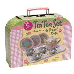 Schylling Childrens Tin Tea Set In Case