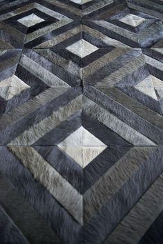 Bittersweet Pattern shown in Aluminum, Slate & steel Interior Rugs, Patchwork Designs, Floor Patterns, Leather Pattern, Cow Hide Rug, French Provincial, Modern Rugs, Floor Rugs, Rug Runner