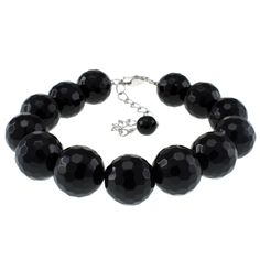 Black onyx faceted bead bracelet with sterling silver clasp