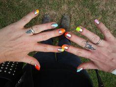 Most recent home mani using Essie: No Place Like Chrome & Floss Gloss: Neon Nacho, Wavepool, Bikini Coral, Con Limon, Fastlane & Perf #nailart #nail art #floss gloss