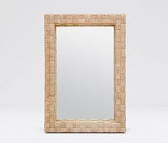 "26"" wide x 38"" tall  Gene Mirror, natural abaca fiber in oversized basket weave pattern"