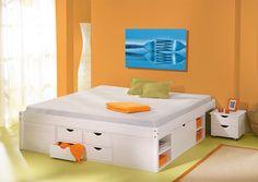 Bett 180x200 cm Doppelbett Stauraumbett Funktionsbett weiß Rost Kiefer massiv in Möbel & Wohnen, Kindermöbel & Wohnen, Möbel | eBay