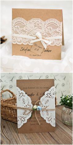 rustikale Spitze Hochzeitseinladungskarten 2016 #lace #weddinginvitations