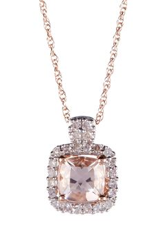 10K Rose Gold Morganite & Diamond Pendant Necklace on @HauteLook