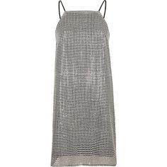 River Island Silver sequin cami mini slip dress (2.365 RUB) ❤ liked on Polyvore featuring dresses, ri limited edition, sale, silver, women, sequin cocktail dresses, white cocktail dress, silver dress, white mini dress and white camisole