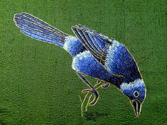 embroidery of a bird in shades of blue on green silk fabric Bird Tattoo Foot, Black Bird Tattoo, Bird Painting Acrylic, Watercolor Bird, Tattoo Design Drawings, Bird Drawings, Bird Of Paradise Tattoo, Colorful Bird Tattoos, Flying Tattoo