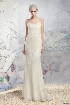 papilio 2016 bridal spagetti strap scoop neckline floral embroidered full embellishment elegant sheath wedding dress (1647 assal)…