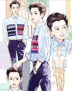 2019 Chanyeol birthday art by langmanpanda on FanBook Chibi, Park Chanyeol, Baekhyun, Exo Anime, Exo Fan Art, Kpop Fanart, Chanbaek Fanart, Exo Members, K Idols