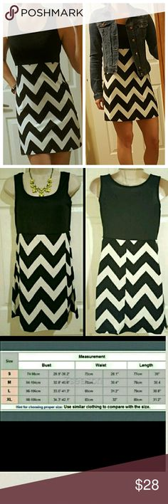 NWOT Black & White Mini Dress New without tags. Sleeveless O-neckline mini dress with tank style top, high waist and wavy pattern bottom (similar to Chevron print design). So cute with jean or lightweight jacket for the fall. 1st pics I am modeling the one I kept for myself.   See size chart pic, confirmed measurements. 100% Polyester, stretchy material. Dresses Mini