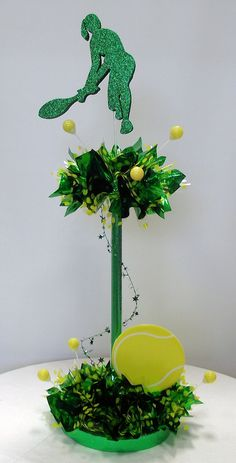 DIY Tall Tennis Player Centerpiece for Bat Mitzvah Table Decoration