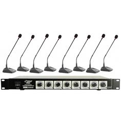 "This 8-channel wireless microphone system is the kit you need to hold large teleconferences. It includes 8 tabletop microphones and a receiver with 8 inputs and dual telescoping antennas. Each antenna has its own corresponding volume control on the receiver. Outputs over ¼"" individual line outputs and mixes ¼"" outputs. Operates within 50-180 meters. Runs on 110 and 220 V AC.* Professional VHF 8 Channel Wireless System* Eight Table Top Microphones Included* Dual Telescoping Receiver Antennas…"