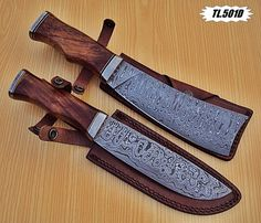 "DAMASCUS CUSTOM HANDMADE CHOPPER KNIFE AND CHIEF KNIFE. LOT 2 PICS(12""+12"") #BestSteelWarrior"