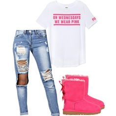 A fashion look from December 2014 featuring Victoria's Secret PINK t-shirts, Boohoo jeans and UGG Australia boots. Browse and shop related looks.