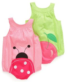 Baby Clothes: Ladybug Butt Baby Girl Romper