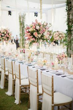 Romantic Thailand Destination Wedding is part of Wedding chairs - Photographed by Sandra Aberg, this stylish, elegant wedding at Point Yamu By Como was full of lush flowers and decor in shades of blush, gold, and cream Wedding Chair Decorations, Wedding Chairs, Wedding Table, Wedding Reception, Wedding Chair Covers, Wedding Chair Sashes, Wedding Dinner, Reception Table, Farm Wedding