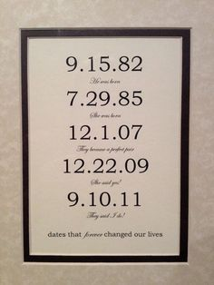 Framed & Matted Custom Date Art Print Personalized