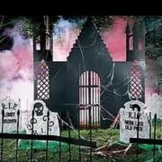 Cemetery scene #Halloween props yard decorations