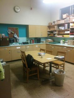 Features of current library/textbook room that should be duplicated: cupboards for storage, counter and table top work space, sink, and refrigerator.