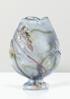 'ANEMONES pulsatile', A GLASS VASE GLASS INLAY BY EMILE GALLE, CIRCA 1900. SIGNED to belly flattened lobed pedestal and neck inlaid flush glass decorated with flowers carved poppies  Signed  Galle engraved on the body