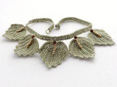 Crochet Choker  Natural Linen Necklace  Leaves by CraftsbySigita,