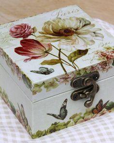 Small Paris rose trinket box is 10cm x 10cm x 6cm