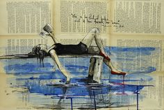 """Saatchi+Online+Artist+Sara+Riches;+Drawing,+""""She+Is+Too+Fond+of+Books""""+#art"""