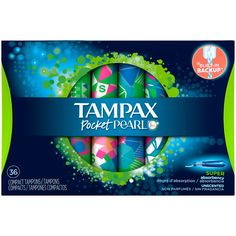 Tampax Pocket Pearl Plastic Tampons, Super, Unscented, (Choose your Count) Always Ultra Thin, Always Pads, Survival Supplies, Feminine Hygiene, Relaxing Day, Household Items, Cute Kids, Packaging Design, Cool Designs