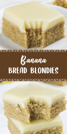Banana Bread Blondies is a scrumptious snack, the easiest and most delicious lunch field, and dessert ever. Oreo Dessert, Banana Dessert Recipes, Köstliche Desserts, Delicious Desserts, Holiday Desserts, Sweet Desserts, Japanese Sweets, Banana Blondies, Banana Bread Brownies