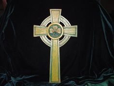 Hand Carved Celtic Cross with Shamrock detail