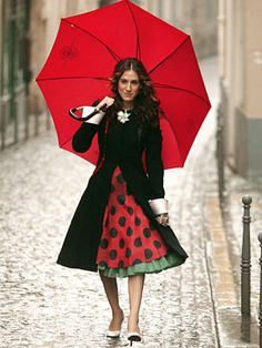 """Pink, ruffled Balenciaga dress with black polka dots, black waist-cinching Christian LaCroix coat, white Christian Louboutin pumps from """"Sex and the City"""" episode """"An American Girl in Paris, Part Deux"""""""