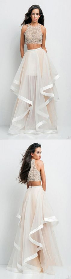 Brand New Two Pieces O-Neck Beaded A-Line Floor Length Tulle Prom Evening Dresses