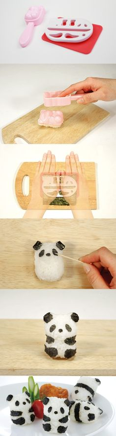 Easy to make cute rice ball baby panda with this set!
