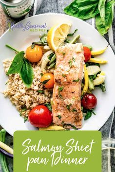 Roasted Salmon Sheet Pan Dinner is a healthy lower calorie dinner. It is made with vegetables basil and salmon and makes an easy one pan meal. Healthy Low Calorie Dinner, Low Calorie Dinners, Healthy Weeknight Meals, Healty Dinner, Couscous Healthy, Veggie Recipes, Healthy Recipes, Calories In Vegetables, Fancy Dinner Recipes