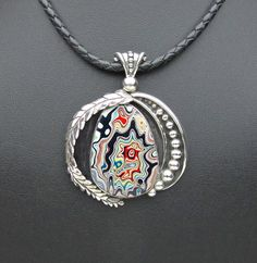 Motor Agate Fordite Sterling Silver  Leather Necklace  by Fordite, $285.00