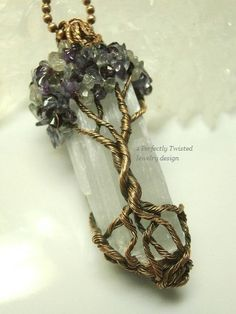 RESERVED Wire Wrapped Mystic Tree of Life Pendant, Amethyst, Iolite & Labradorite on Selenite, Antiqued Copper Handmade Perfectly Twisted Sold! Wire Wrapped Mystic Tree of Life Pendant by PerfectlyTwisted Handmade by Perfectly Twisted Jewelry Wire Pendant, Wire Wrapped Pendant, Wire Wrapped Jewelry, Wire Jewelry, Beaded Jewelry, Handmade Jewelry, Pendant Necklace, Tree Of Life Jewelry, Tree Of Life Pendant
