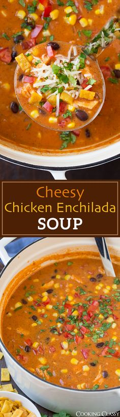Cheesy Chicken Enchilada Soup - so good you'll want to make it on a regular basis! Chicken cooked right in the soup so it's an easy one pot dinner!